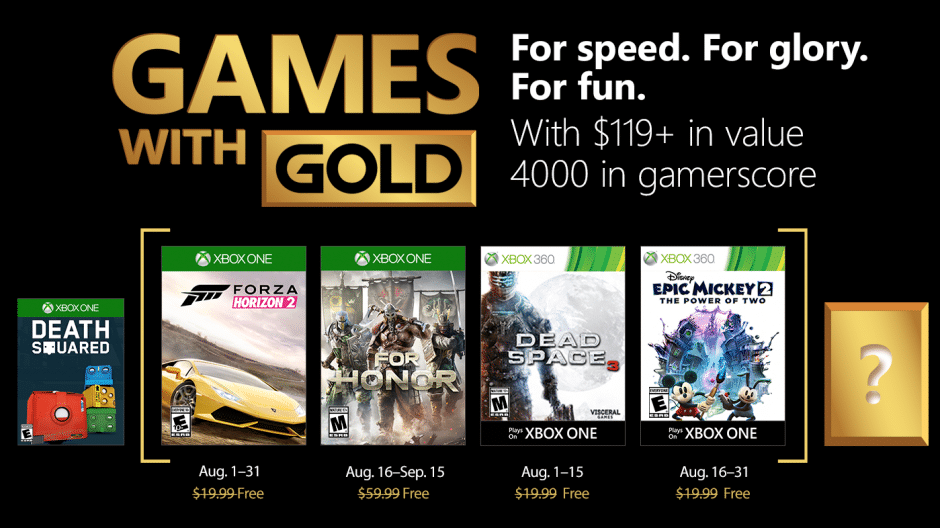 August 2018 Games with Gold