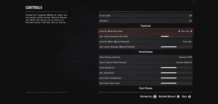 Best settings for combat in Red Dead Redemption 2